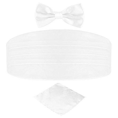 Men's Satin Belt Cummerbund Bow Tie Pocket Square Handkerchief Hanky Set Tuxedo Party (White)