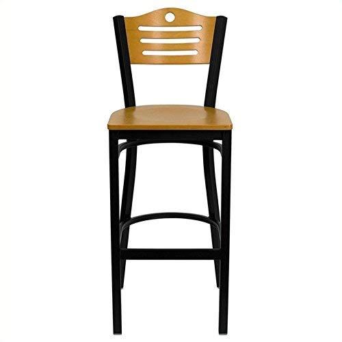 (Flash Furniture HERCULES Series Black Slat Back Metal Restaurant Barstool - Natural Wood Back &)