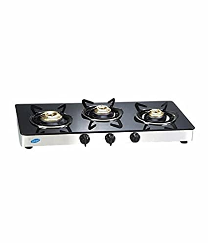 GLEN 1033 Glass Gas Stove 3 Brass Burner Cooktop, ISI Certified