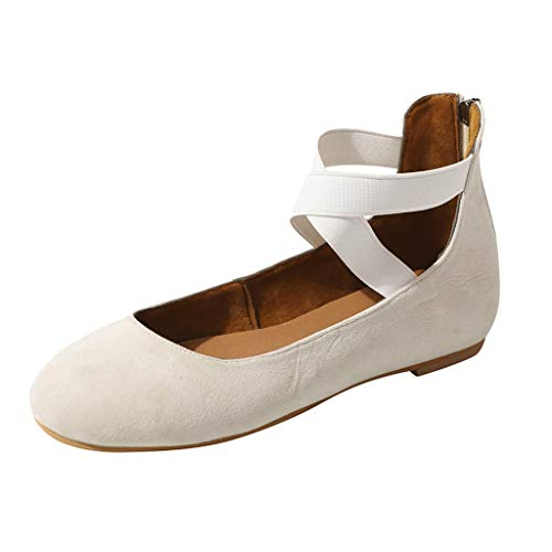 Mary Jane Shoes Women,SMALLE◕‿◕ Women's Ankle Straps D'Orsay Pointed Toe Ballet Flats Ankle Strap Shoes Beige