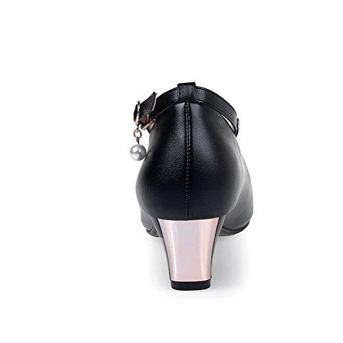 Balamasa Dames Glazen Diamant Kitten-hakken Gesp Ronde Neus Rubberen Pumps-schoenen Zwart