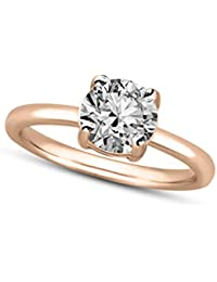 100% Real Diamond Rings 1/2 cttw IGI Certified Diamond Rings For Women Natural Diamond Solitaire Ring I2-HI Quality 10K Gold Diamond Jewelry Gifts (1/2 cttw, Yellow Rose and White Gold)