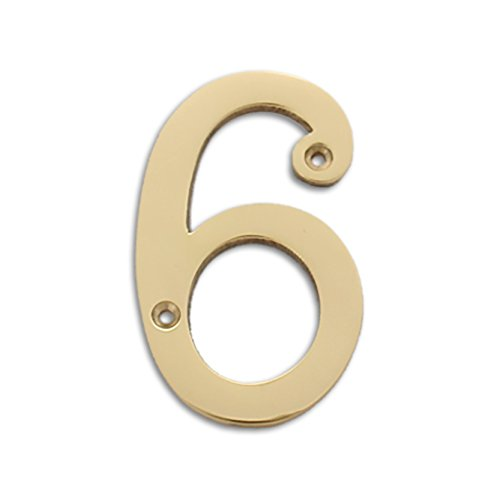 RCH Hardware Solid Brass 4″ Tall House Number 6, Polished Brass Shiny Gold Matching Screws Included