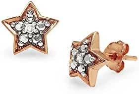 Sterling Silver Diamond Accent Small Star Stud Earrings, IJ-I3