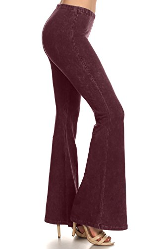 Zoozie LA Women's Bell Bottoms Tie Dye and High Waist Denim Colored Yoga Pants Burgundy, Large
