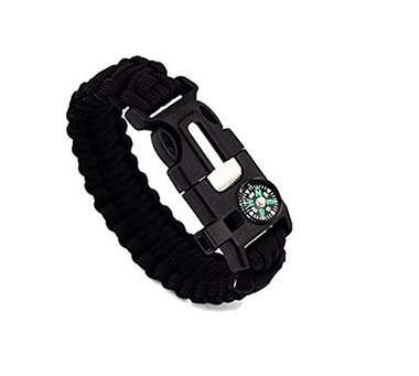 Waymeduo Survival Bracelet Paracord Whistle Gear Flint Fire Starter Scraper Kits Outdoor