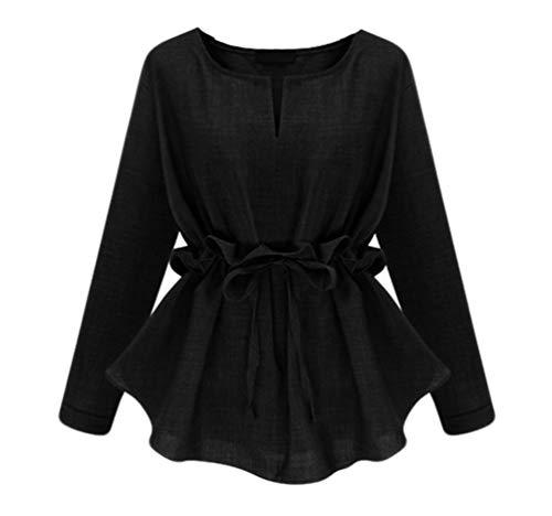 Vintage Unie Couleur en Jitong Noir Top Lace Lin Courte Longues pour Manches up Chemise Blouse Femme 7daqPwa