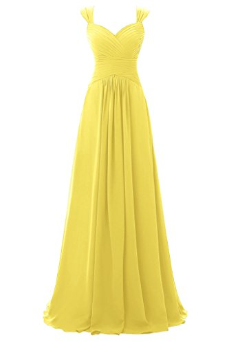 Topdress Womens Spaghetti Bridesmaid Sweetheart Prom Long Evening Gowns Yellow Us 8