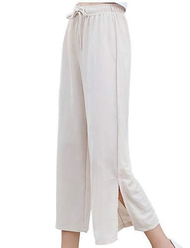 Pantaloni Larghi Donna Unita Tinta Da In Yfltz Gambe Beige Delle Lino Pq0SPd5B
