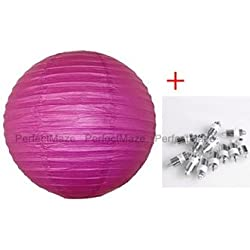 "Perfectmaze 12 Piece Round Chinese Paper Lantern With LEDs for Wedding, Parties, Engagements, Baby Showers, and Special Events Decoration 4 Sizes / 20 Colors+ (8"" (Inch), Fuchsia)"