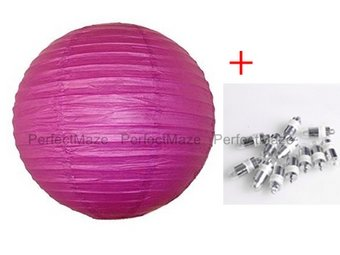 """Perfectmaze 12 Piece Round Chinese Paper Lantern With LEDs for Wedding, Parties, Engagements, Baby Showers, and Special Events Decoration 4 Sizes / 20 Colors+ (8"""" (Inch), Fuchsia)"""