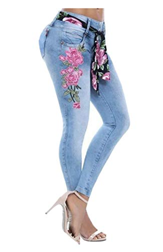 Joe Wenko Women Juniors Mid Waist Jean Trousers Denim Embroidery Pants Blue M