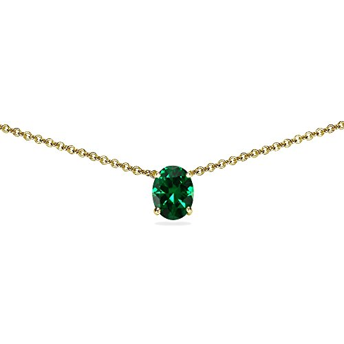 Yellow Gold Flashed Sterling Silver Simulated Emerald 7x5mm Oval Dainty Choker - Sterling 7x5mm Emerald