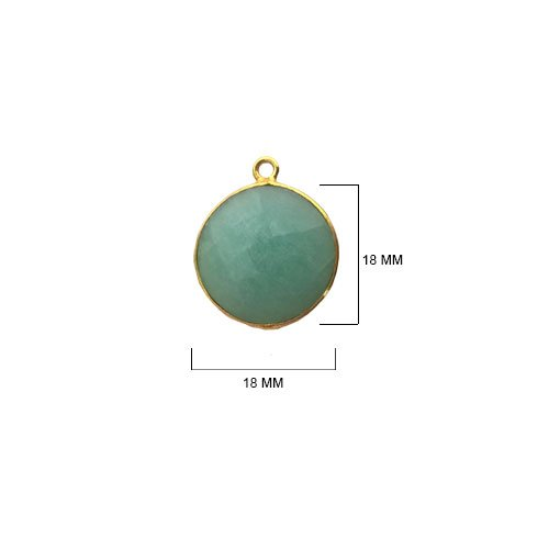 2 Pcs Amazonite Coin Beads 18mm 24K gold vermeil by BESTINBEADS, Amazonite Hydro Quartz Coin Pendant Bezel Gemstone Connectors over 925 sterling silver bezel jewelry making supplies ()