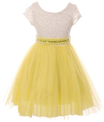 (Little Girl Cap Sleeve Lace Top Tulle Pearl Easter Graduation Flower Girl Dress (20JK45S) Yellow)