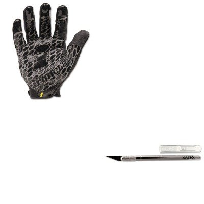 KITEPIX3001IRNBHG04L - Value Kit - X-acto Light-Duty Aluminum Handle Knife w/Replaceable 11 Blade (EPIX3001) and IRONCLAD PERFORMANCE WEAR Box Handler Gloves (IRNBHG04L)
