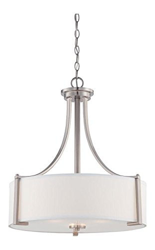 Satin Platinum Axel 3 Light Drum Pendant Satin Platinum 3 Light Pendant