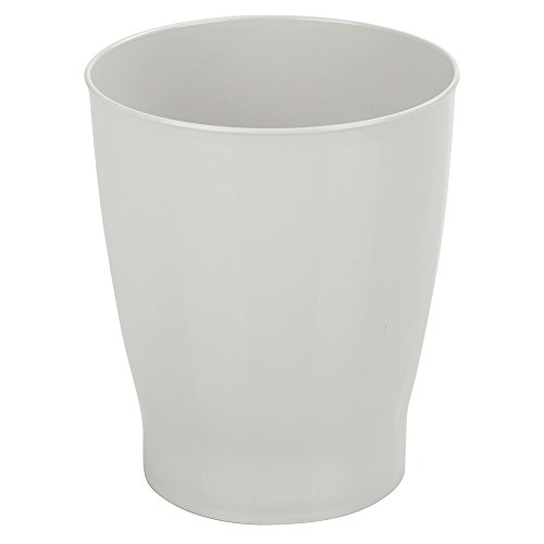 Wastebaskets Kids (mDesign Slim Round Plastic Small Trash Can Wastebasket, Garbage Container Bin for Bathrooms, Powder Rooms, Kitchens, Home Offices, Kids Rooms - Light Gray)