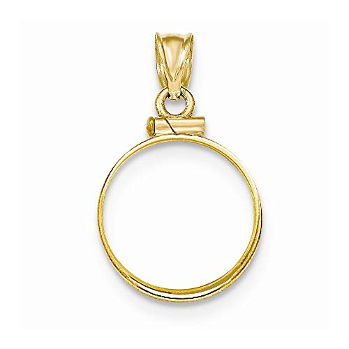 (14k Yellow Gold Polished Screw Top 1/10 Panda Coin Bezel Pendant ~ from Roy Rose Jewelry)