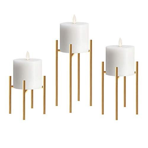 smtyle Pillar Candle Holders Set of 3 Candelabra Ideal for Pillar LED Candles 4 Lines with Gold Iron