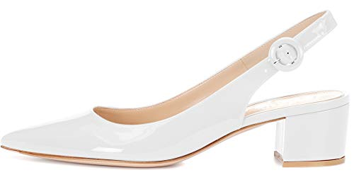 White Slingback Pumps - Eldof Pointed Toe Pumps,Slingback Ankle Buckle Chic Pumps,Classy Block Heel 2