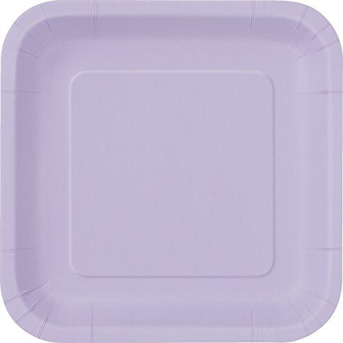 Square Lavender Paper Cake Plates, 16ct Purple Square Dessert
