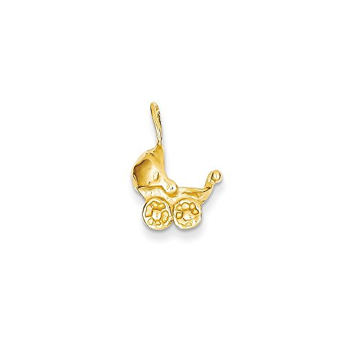 14k Gold Carriage - 14k Baby Carriage Charm, 14 kt Yellow Gold