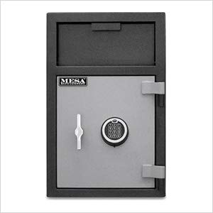 MESA MFL25E-ILK 2.1 cu ft Depository Safe with Interior Locker, All Steel with Electronic Lock, Two Tone Black & Grey