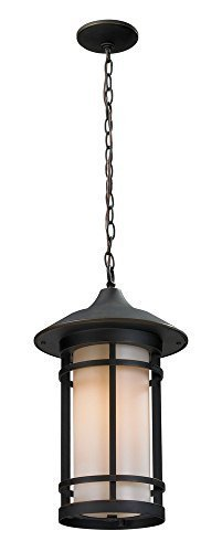 Z-Lite 528CHB-ORB Outdoor Chain Light with Aluminum Frame Oil Rubbed Bronze Finish, Matte Opal by Z-Lite