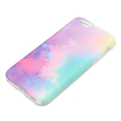 uCOLOR Pastel Gradient Case Compatible with iPhone 8 Compatible with iPhone 7/6S/6 Abstract Cloud Protective case for iPhone 6S/6/8/7 Durable Soft TPU Case