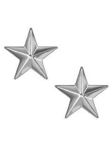 Polished Silver Brigadier General Stars Insignia Set- 1 Pair (General Rank Insignia)
