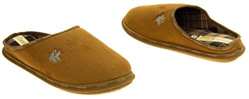 Hombre Coolers zapatillas acolchadas traseras acolchadas de la mula del ante del faux Tan