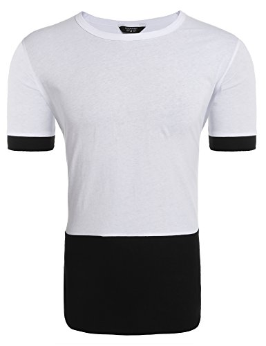 White Contrast Neck T-shirt - Coofandy Mens Hipster Casual Cotton Crewneck Short Sleeve T-Shirts Contrast Color Zip Tees