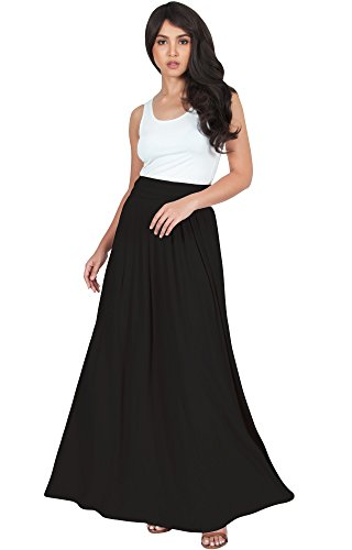 KOH KOH Womens Womens Long Flowy Cute Modest High Waist Waisted Floor Length Pockets Casual Semi Formal Pleated Vintage Slimming Work Office Workwear Maxi Skirt Skirts, Black M 8-10