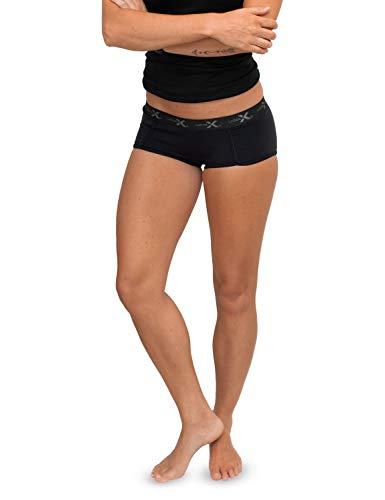 Wool Knickers - WoolX Lila - Women's Boy Short Underwear - Lightweight & Durable Merino Wool Bottoms - Blk -MED