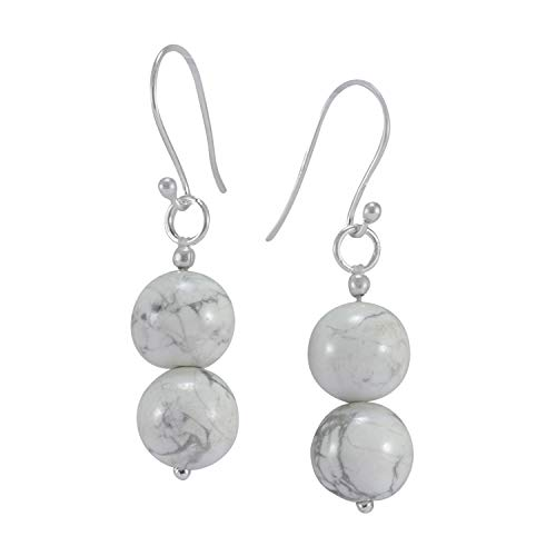 5aed87b80174b Handmade Jewelry Manufacturer Beaded 10mm Howlite- 2 Stone Set- 925  Sterling Silver- Dangle Earring Jaipur Rajasthan India