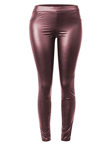 Instar Mode Women's Stretchy Faux Leather Fleece Lined Mid Rise Skinny Coated Legging Pants Maroon L
