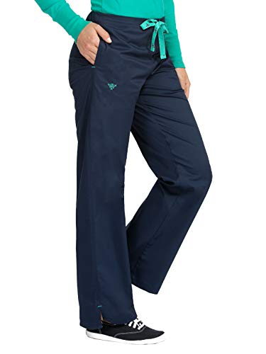 Med Couture Women's Signature Drawstring Scrub Pant New Navy/Spearmint M