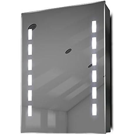 Demist Bathroom Mirror Cabinet With RGB Sensor Internal Shaver K355RGB