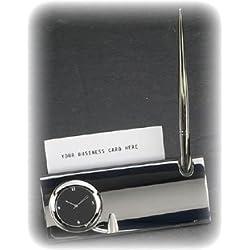 Bey-Berk Silver Card Holder Clock with Pen