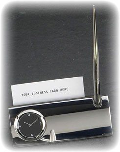 Silver Plated Business Card Holders - Bey-Berk D144 Silver Plated Desk Quartz Clock with Business Card Holder and Pen. Grey