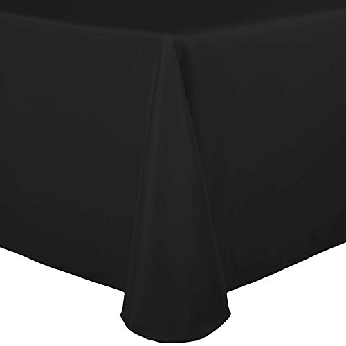 Ultimate Textile 60 x 102-Inch Oval Polyester Linen Tablecloth Black Best Value Textiles Linen