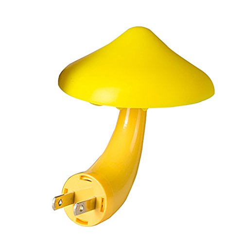 Academyus Mushroom Night Light with Plug Warm White LED Control Sensor Lamp Bulb for Kids Adult Bedroom Yellow