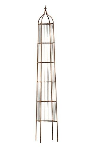 CLP XXL Rankhilfe / Rosensäule TROJA, Maße 44 x 44 cm, Höhe 350 cm, FARBWAHL antik braun