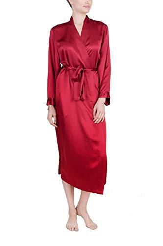 OSCAR ROSSA Women's Luxury Silk Sleepwear 100% Silk Long Robe Kimono Burgundy