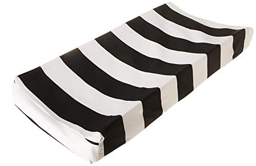 Glenna Jean Apollo Changing Pad Cover Stripe, Black/White, Standard