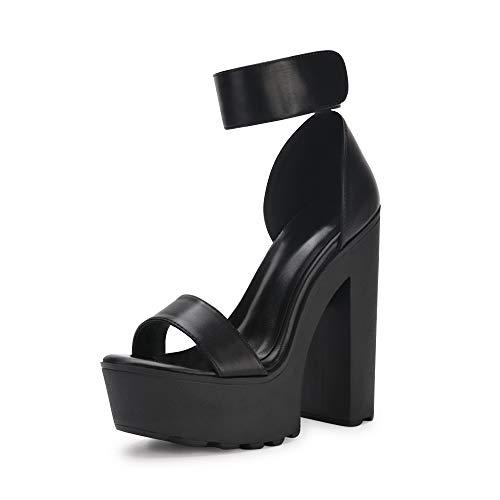 OCHENTA Women#039s Fashion Platform Lug Sole Chunky High Heel Sandals Black Tag Size 37  US BM 65