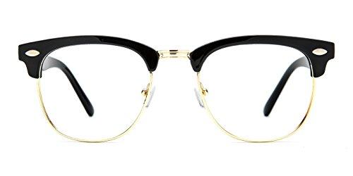 TIJN Men's Classic Inspired Half Frame Nerd Horn Rimmed Clear Lens - Horn Prescription Glasses Rimmed