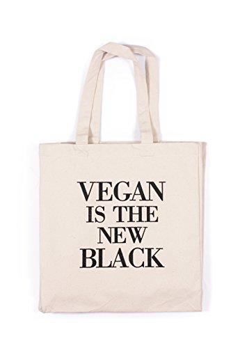 Vegan Tote Bag–es el nuevo negro vegetarianos lema activista Veggie herbívoro algodón canvas tote bolso de la compra impreso mercado respetuoso con el medio ambiente, lona, crema, talla única