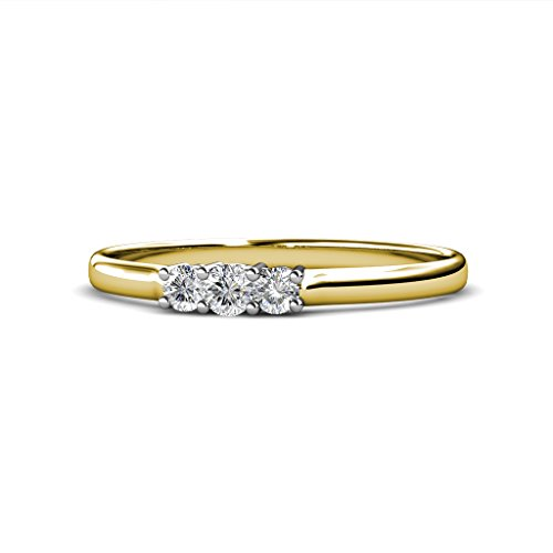 0.25 Ct Engagement Ring - AGS Certified Diamond (SI1-SI2, F-G) 0.25 Carat tw 3 Stone Engagement Ring in 14K Yellow Gold.size 6.5